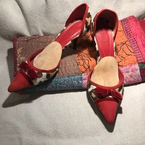 Shoes, Coach, Red Suede, Animal Print Hide, Bow